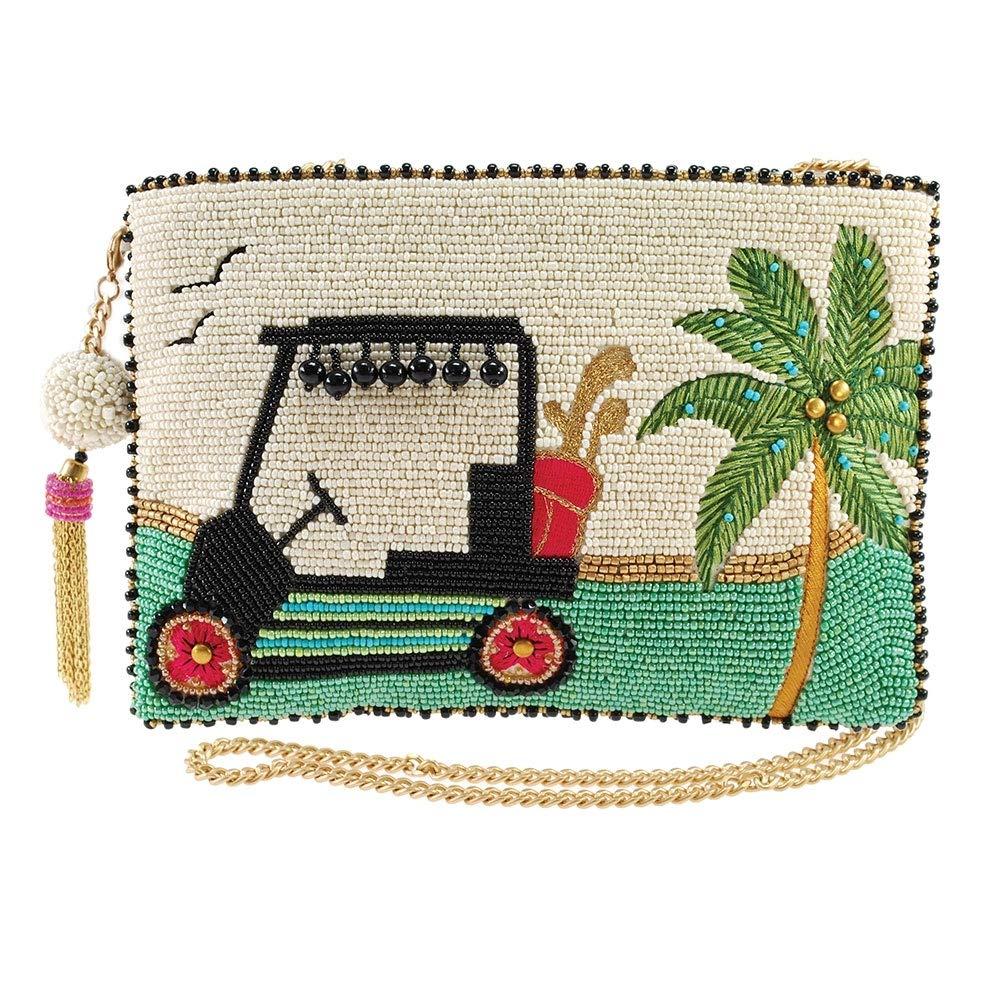 Mary Frances Day On The Green Beaded Golf Cart Crossbody Clutch Handbag, Multicolor
