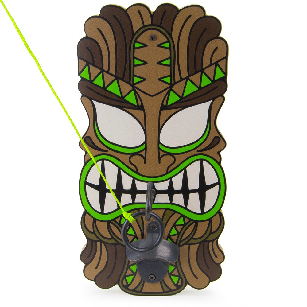 Big Kahuna Wooden Hook & Ring Toss Game, Tiki Mask with Bottle Opener, All Hardware Included by Sol Coastal