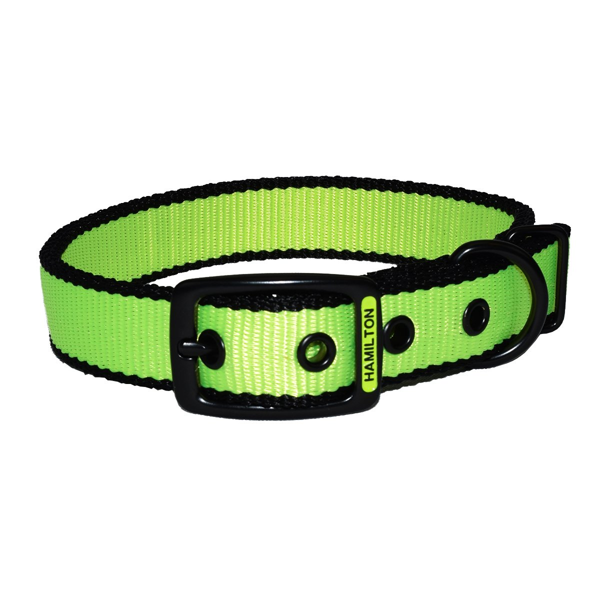 Hamilton DD 20 NEYEBK Double Thick Dog Collar with Trim, 1  x 20 , Neon Yellow
