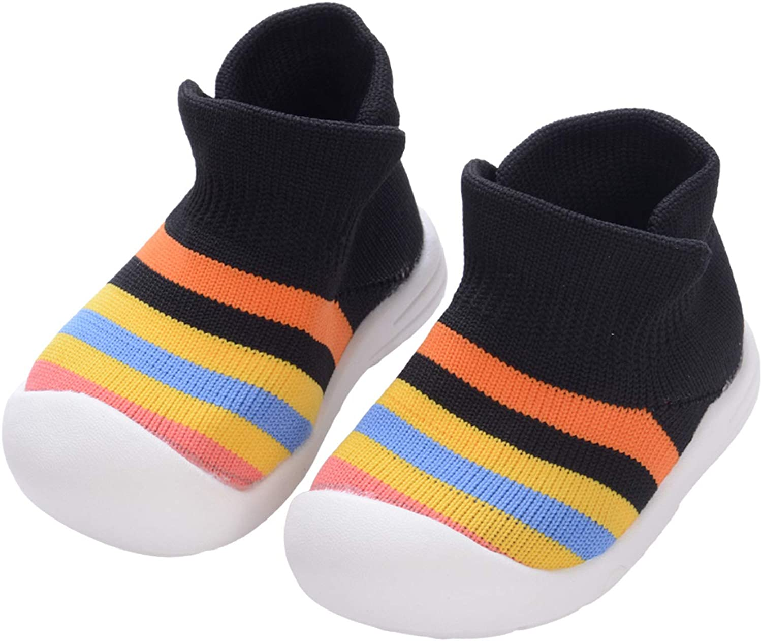 Aunavey Toddler Infant Baby Boys Girls Knit Shoes First Walkers Walking Shoes Anti-Slip Soft Slippers
