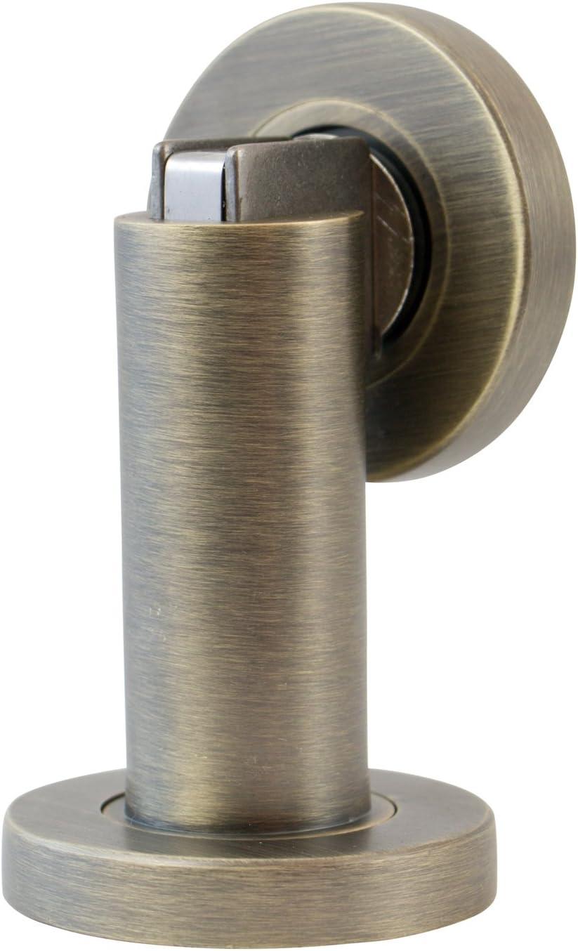 Stoppwerk Topes para puertas magnético MS010 de estilo antiguo - Material de fijación para suelo y pared incluido - Tope puerta