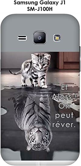 Onozo Coque Samsung Galaxy J1 - SM-J100H Design Chat Tigre Blanc Et Alors !