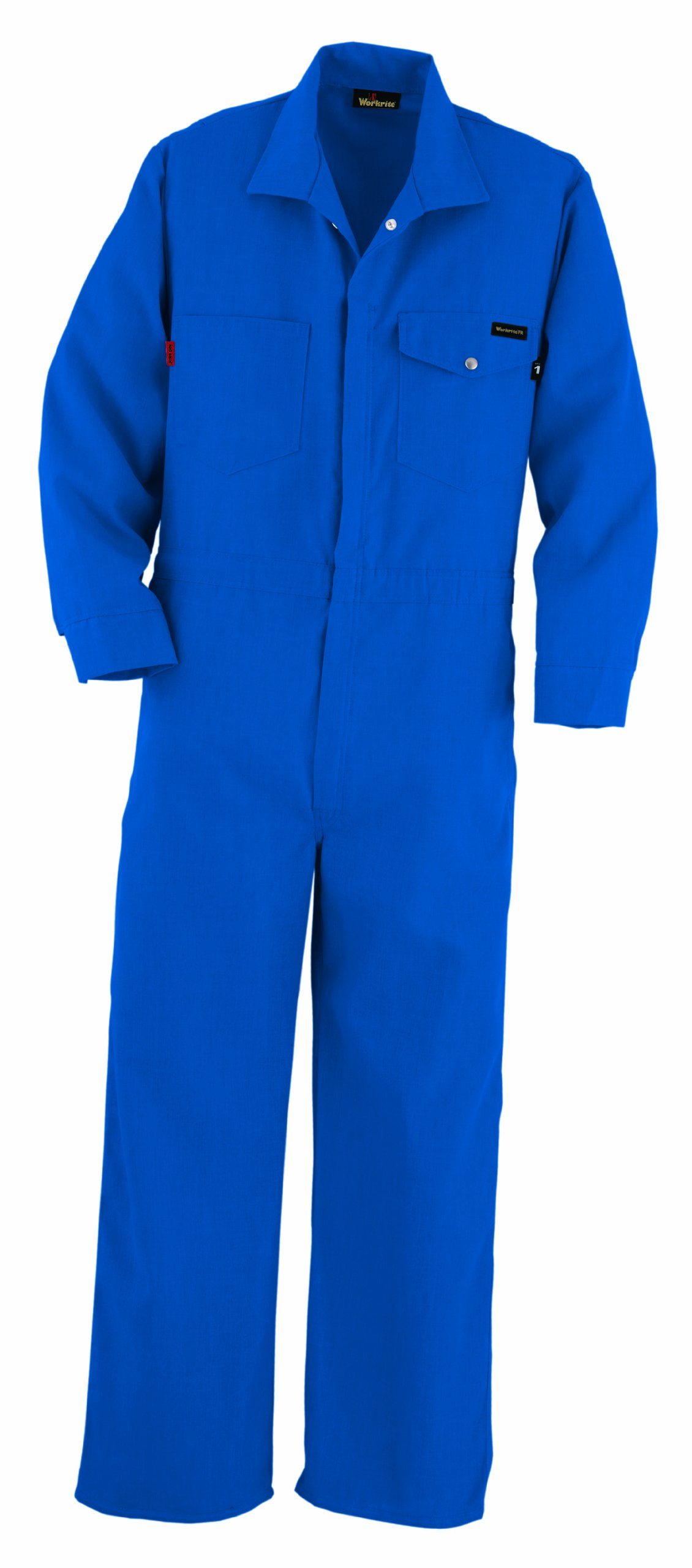 Workrite Flame Resistant 4.5 oz Nomex IIIA Industrial Coverall, Snap Wrist, 38 Chest Size, Short Length, Royal Blue