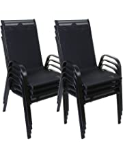 Black Stacking Textoline Chairs Outdoor Garden Furniture High Back Seating Patio