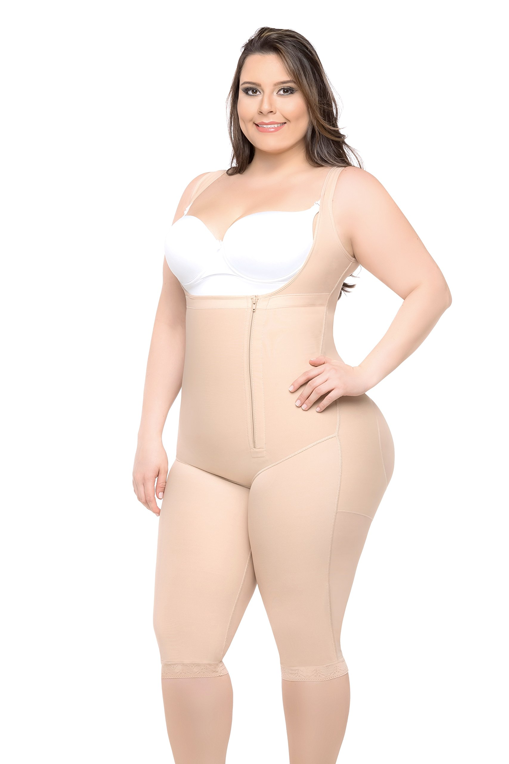 Fajas Colombianas Full Body Shaper Butt Lifter Short Style With High Back & Knee Length Coverage by All About Shapewear