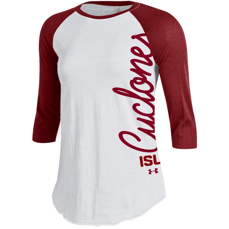 Small Under Armour NCAA Iowa State Cyclones Womens Baseball Tee Cardinal