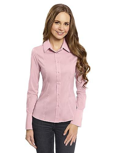 oodji Collection Mujer Camisa Básica de Algodón