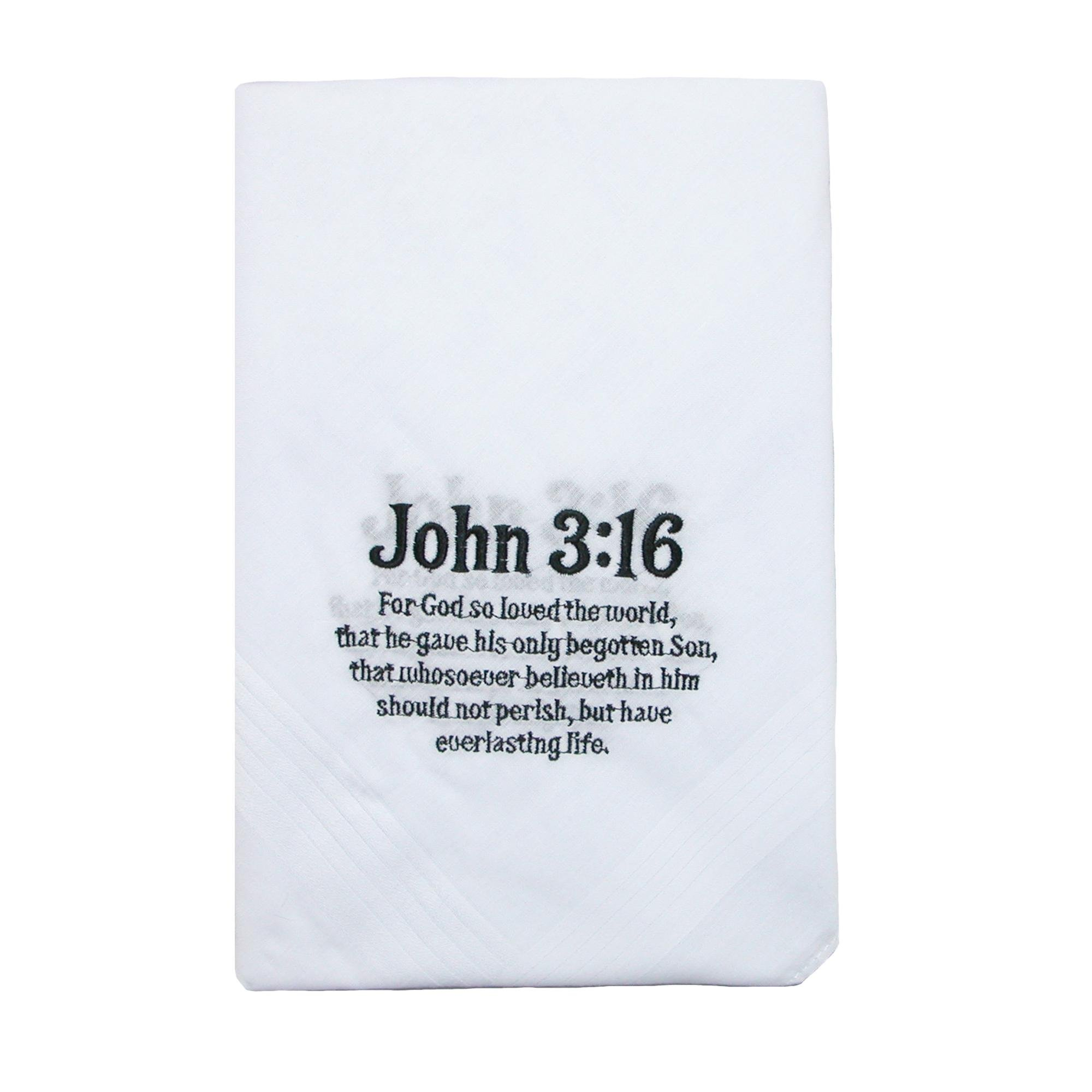 Umo Lorenzo Cotton John 3:16 Embroidered Handkerchief Set (Pack of 6), White