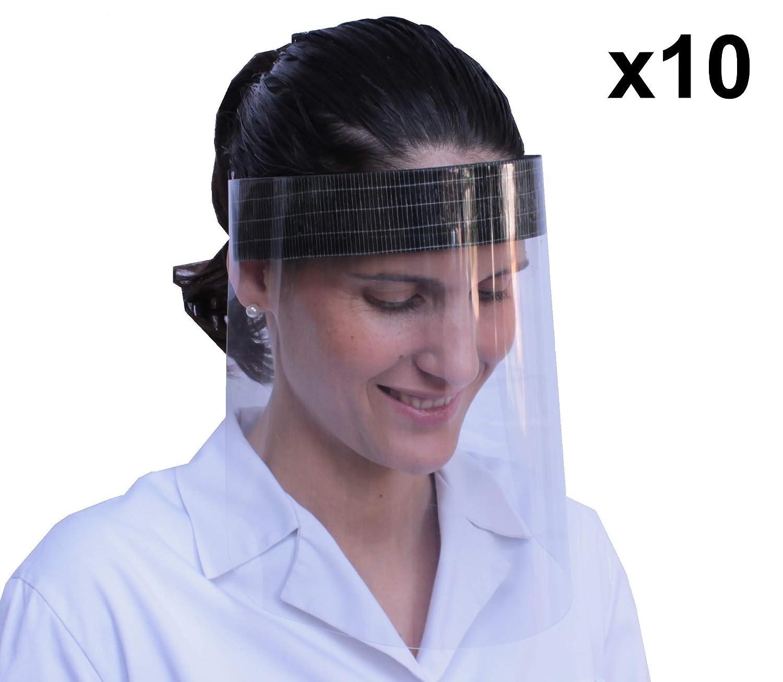 KMINA - Pantalla Protección Facial Transparente, Pantalla Protectora Cara, Protector Facial, Visera Protectora con Agarre de Velcro Trasero, Fabricado en España (Pack x10 uds)
