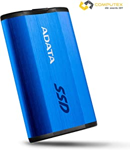 ADATA SE800 512GB IP68 Rugged - Up to 1000 MB/s - SuperSpeed USB 3.2 Gen 2 USB-C External Portable SSD Blue (ASE800-512GU32G2-CBL)