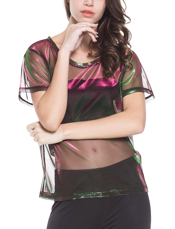 Perfashion colorful Fine Mesh Shirt Metallic Shimmer See Through Shirt For Women, Green Red, X-Large by Perfashion (Image #1)