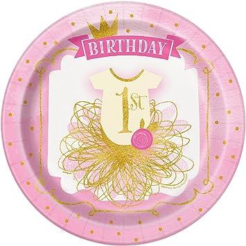 Unique Party- Platos de Papel Fiesta de Primer Cumpleaños para Niña, 8 Unidades, Color rosa y dorado, 21.9 cm (58155)