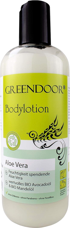 500ml EMBALAJE DE AHORRO Greendoor Loción corporal Aloe Vera, loción corporal en Mejor calidad de fabricación sin Silicona, sin Parabene, vegan, ideal para piel seca