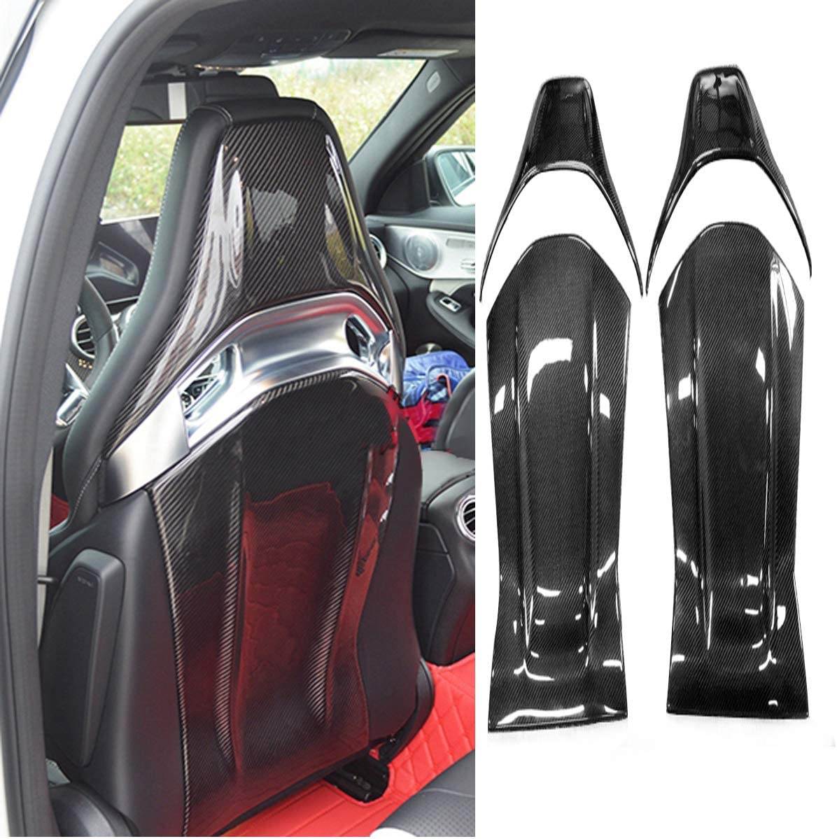 VAUXHALL CORSA HATCHBACK 06-ON BLACK SEAT COVERS WITH GREY PIPING