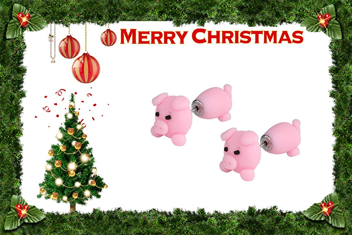 Caimeytie Fille boucles doreilles cochon rose