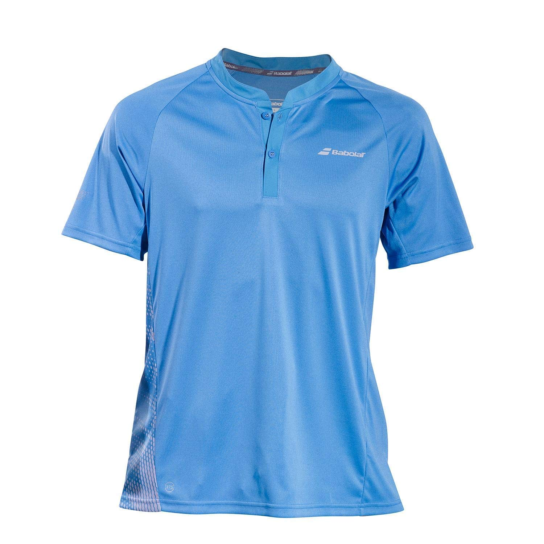 Babolat Mens Performance Lightweight Breathable Tennis Polo Shirt, Parisian Blue/Silver (Small)