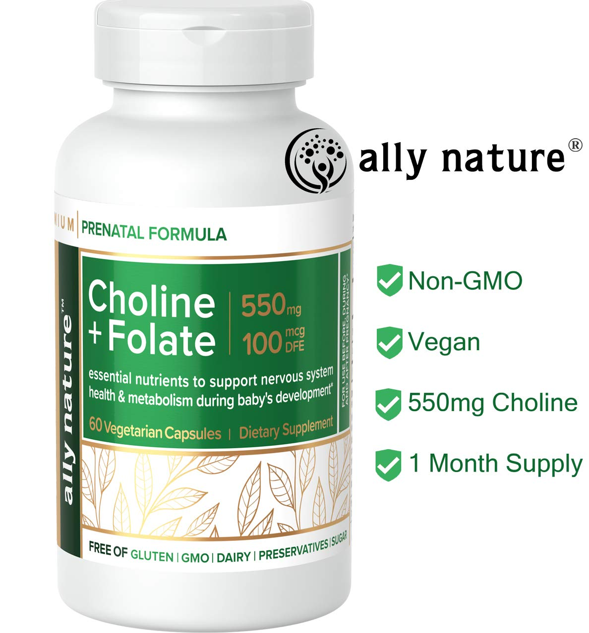 Ally Nature Prenatal Choline Bitartrate Supplement 550mg – Vegan Folate Supplements For Pregnancy – Prenatal Multivitamin For Pregnant Women – Promote Baby Brain Function Development – 60 Caps