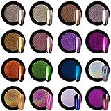 Artdone 16 Jars Chrome Nail Powder Metallic Mirror Effect Holographic Aurora Chameleon Pigment 1g/Jar for Nail Art Gel Polish