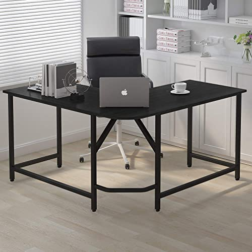 55″x 55″ Home Office L-Shaped Desk Corner Computer Desk Large PC Laptop Sturdy Table Workstation Solid Support Black
