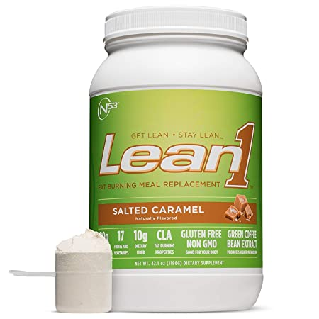 Lean 1 Salted Caramel Protein Powder Meal Replacement Shakes By Nutrition 53, Lactose Gluten Free with Green Coffee Bean Extract, 23 Serving Tub – 42 oz
