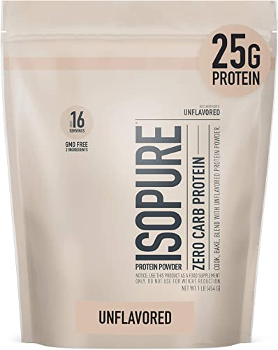 Isopure Zero Carb Unflavored 25g Protein, 100 Whey Protein Isolate, Keto Friendly Protein Powder, No Added Colors Flavors Sweeteners, GMO Free, 1 Pound Packaging May Vary