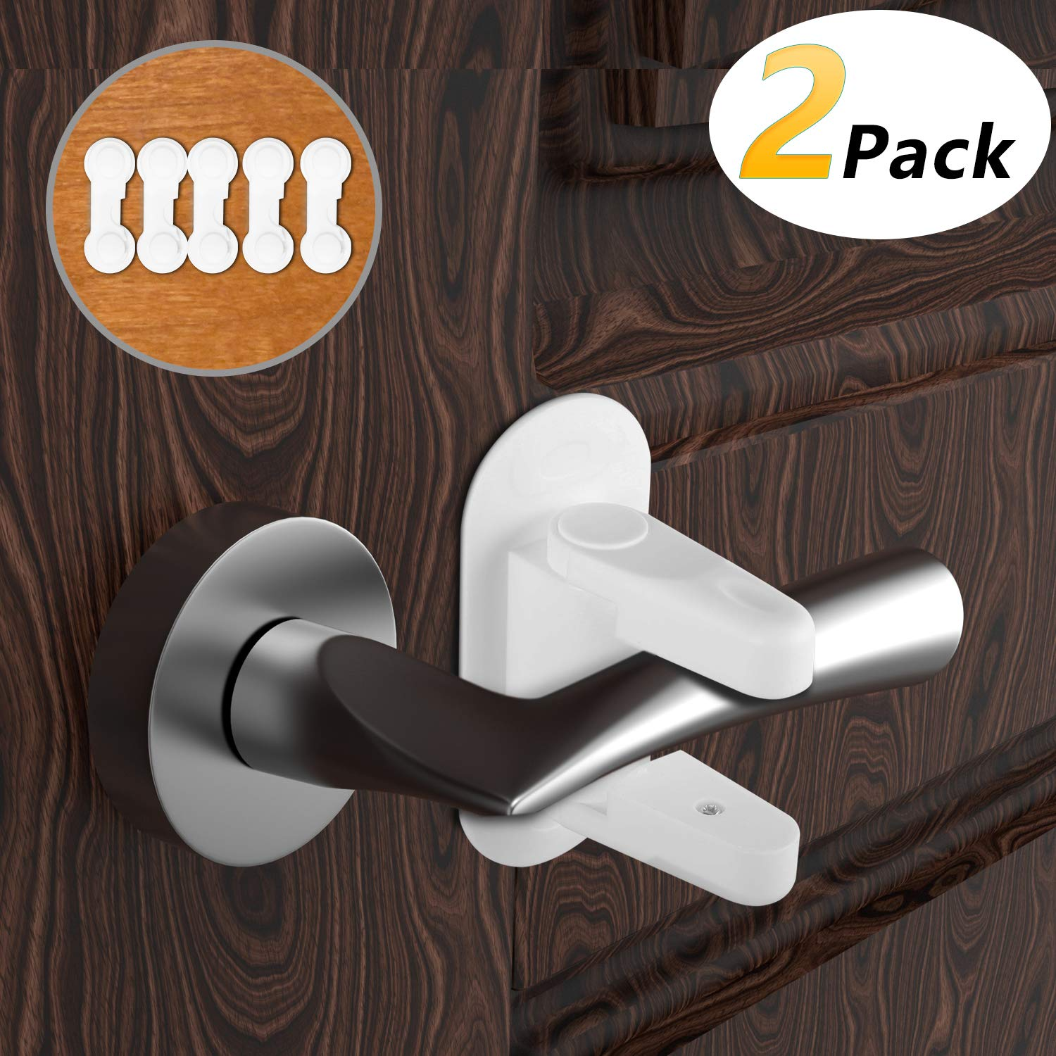 4 Pack Gifts Baby Safety Lock Door Handle Child Proof Locks with 3M Strong Adhesive,Cabinet Safety Lock with 5 Pack Child Locks for Kitchen Cupboards White