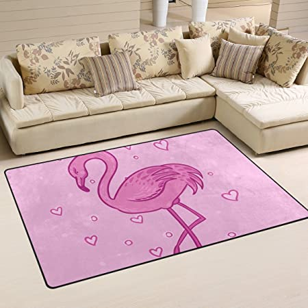 JSTEL INGBAGS Super Soft Modern Flamingo Heart Area Rugs Living Room ...