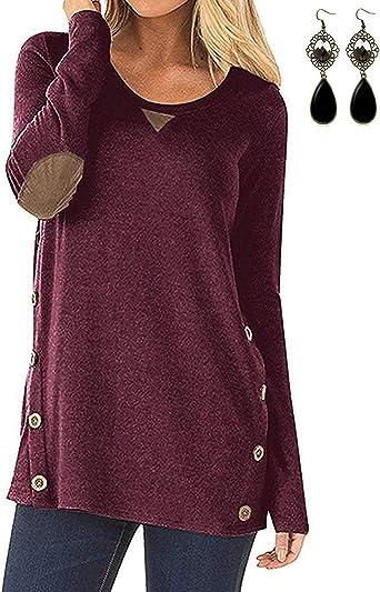 carinacoco Mujer Camisetas Algodón Manga Larga con Boton Doble Breasted Camisas y Tops: Amazon.es: Ropa y accesorios