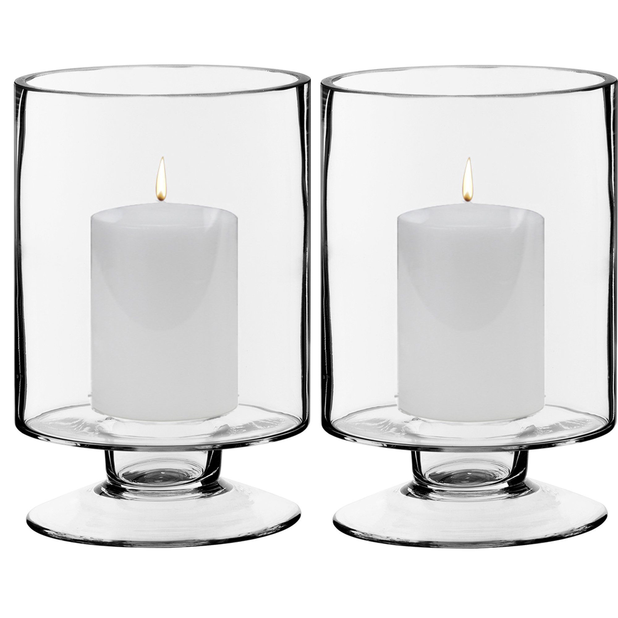 CYS EXCEL Clear Glass Pillar Candle Holder - Taper Candle Stand - Dual Use for Pillar or Taper Candlesticks Pack of 2 PCS (D3.7 H6)