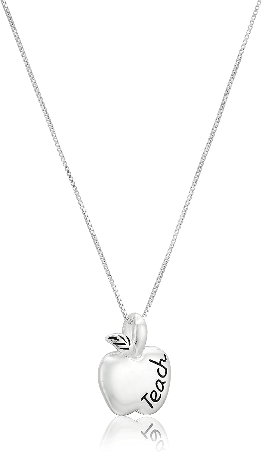 "Sterling Silver ""To Teach Is To Touch Lives Forever"" Reversible Teacher Apple Pendant Necklace, 18"""