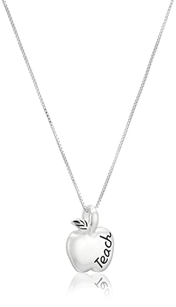 Sterling silver to teach is to touch lives forever reversible sterling silver to teach is to touch lives forever reversible teacher apple pendant necklace 18quot mozeypictures Image collections