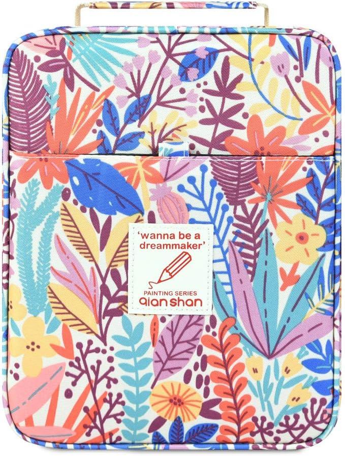 136 Color Gel pens Pen Bag or Marker Organizer Universal Artist Use Supply Zippered Large Capacity Slot Super Big Professional Storage qianshan Lily Flower 202 Colored Pencils Pencil Case