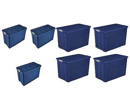 3 Pack Stadium Blue Sterilite 50 Gal.//189 L Stacker Tote