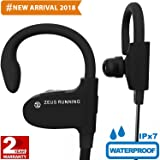 ZEUS Wireless Bluetooth Earbuds - New Model 2018 - Adjustable Ear Hooks - Best HD Stereo Sound Sport Headphones – Small Outdoor Waterproof IPx7 Workout Earbuds - Running Headphones for Women Men