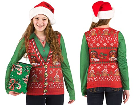 7f738d59414f7 Amazon.com  Faerynicethings Adult Size Faux Real Ladies Ugly Christmas Vest  T-Shirt - Holiday Sweater - 5 Sizes  Clothing