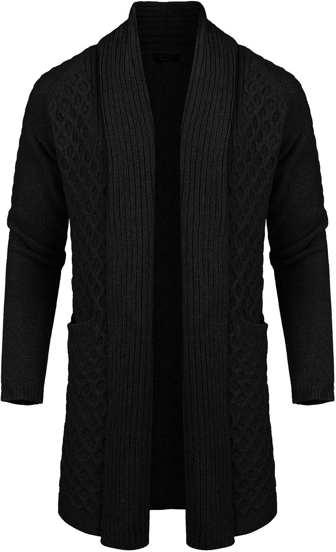 COOFANDY Mens Fashion Long Ruffle Knit Cardigan Lightweight Shawl Collar Sweater at  Men's Clothing store