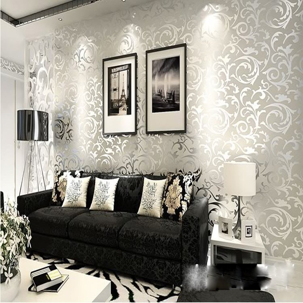 QIHANG High Grade Flocking Victorian Damask/embossed Wallpaper Roll Silver  And Gray Color 0.53m*10mu003d5.3sqm   Damask Textured Wallpaper   Amazon.com