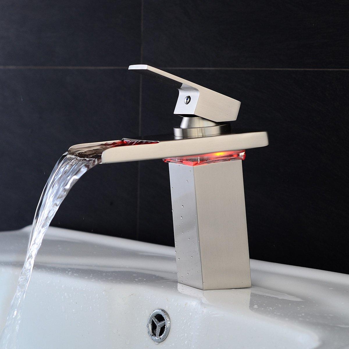 Sprinkle Stylish Single Handle Nickel Brushed LED Waterfall Bathroom ...