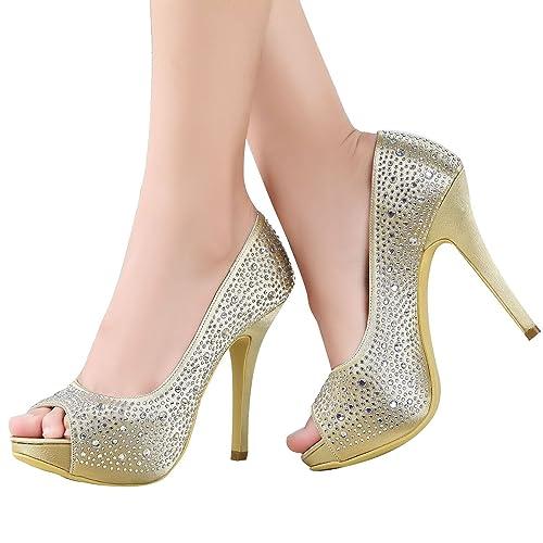 Elegantpark EP11066IP Peep Toe Rhinestones Stiletto High Heel Pumps Women Wedding Shoes  B00JVMXD5C