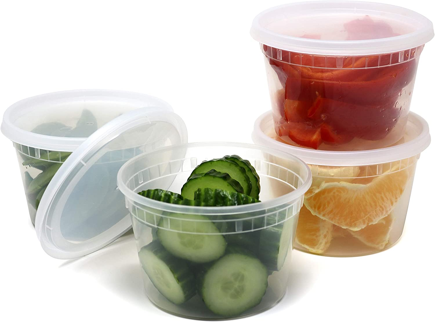 Plastic Food Storage Containers with Airtight Lids 16 oz. - BPA Free, Restaurant Deli Cups, Foodsavers, Portion Control, and Meal Prep Containers, 24 Pack
