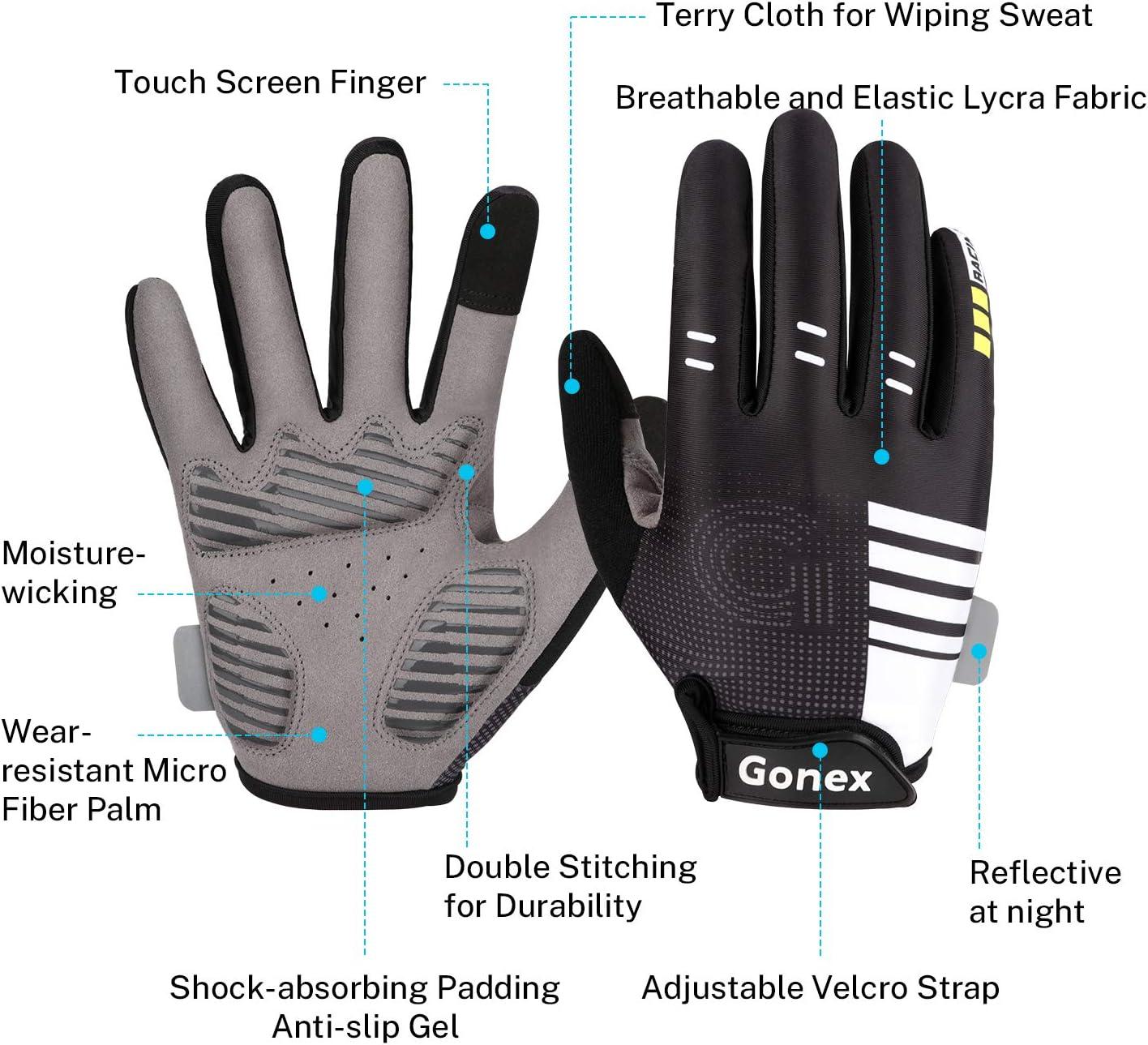Gonex Cyclisme Gants VTT Homme pour Velo Gants de Doigt Complet 3.5mm Gel Rembourr/és Anti-Choc /Écran Tactile pour Cycliste Sport