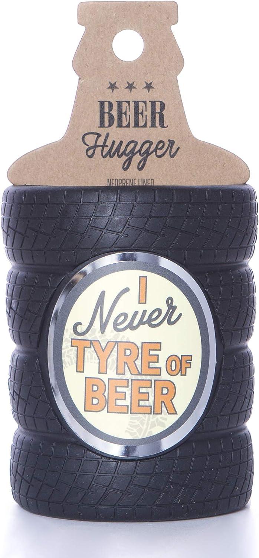 tama/ño /único Neopreno Negro Boxer Gifts Never Tyre of Shaped Beer Bottle Cooler Sleeve Funda para Botella de Cerveza con Forma de neum/ático