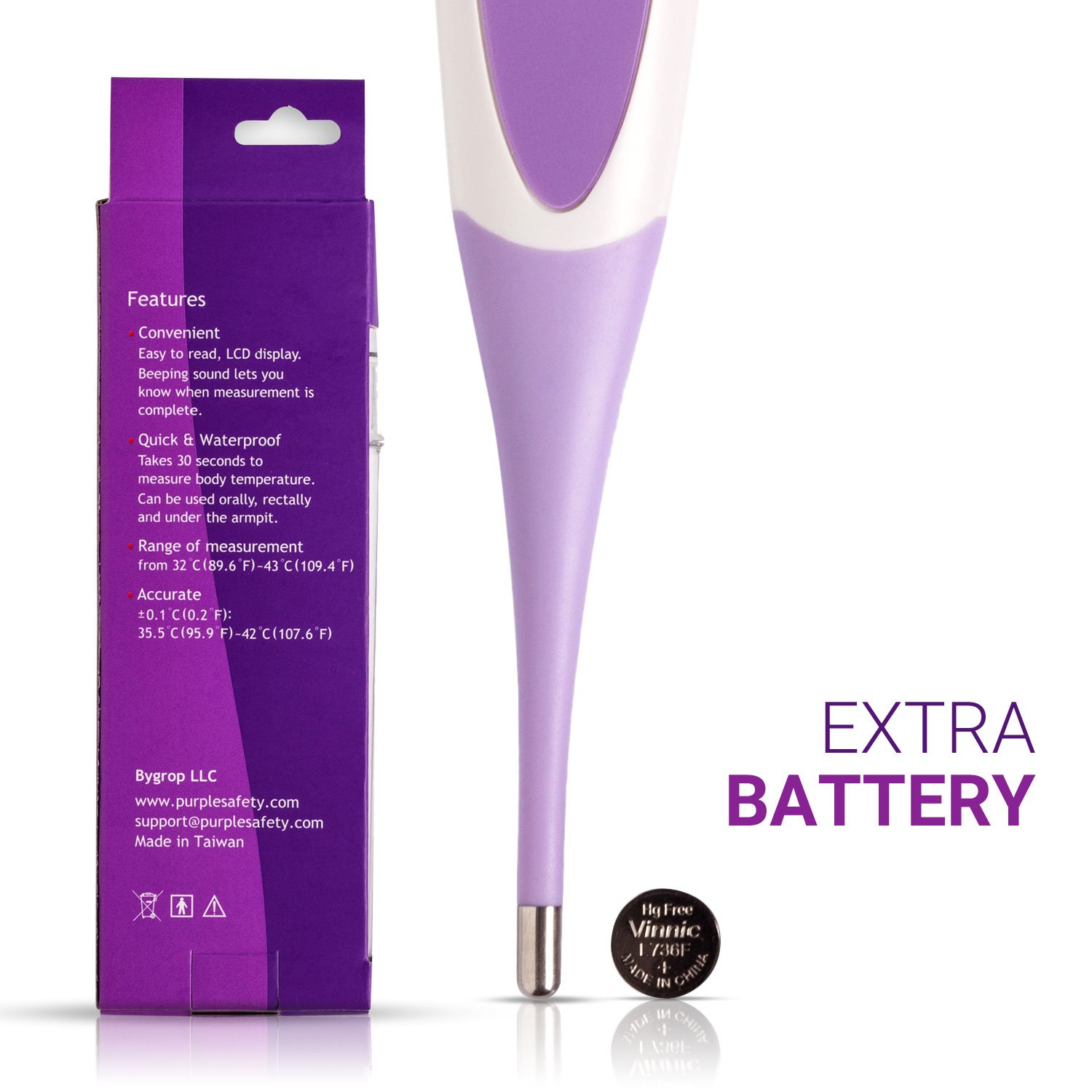 Baby Digital Thermometer - For Infants, Babies, Kids - 30 Seconds Read - FDA CE Approved - Flexible Tip - Waterproof - Extra Battery Included - Clinical Fever Alarm - Rectal Under The Arm/Tongue by Purple Safety (Image #8)