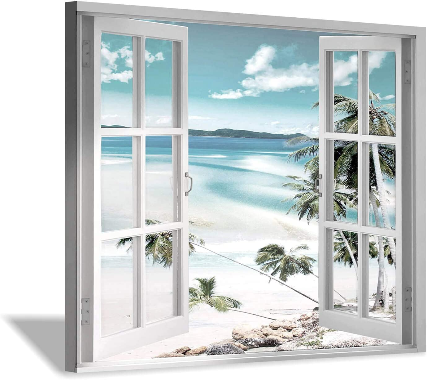 Open Windows Canvas Wall Art: Beach with Coastal Palm Graphic Artwork Print on Wrapped Canvas for Wall Decor(24''x18'')