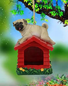 Ebros Whimsical Adorable Realistic Mini Teacup Pug On Kennel Or Birdhouse Bird Feeder Branch Hanger with Hanging Ropes Decorative Figurine Bird Feeders for Outside Patio Garden Statue Pugs Pets