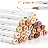 24-Color Art Markers, Ohuhu Skin Tones, Dual Tip, Brush & Chisel, Sketch Marker, Alcohol Brush Markers Bonus 1 Blender for Sketching, Adult Coloring, Calligraphy and Illustration Markers,Mid-tone and Hair Shades Marker Set