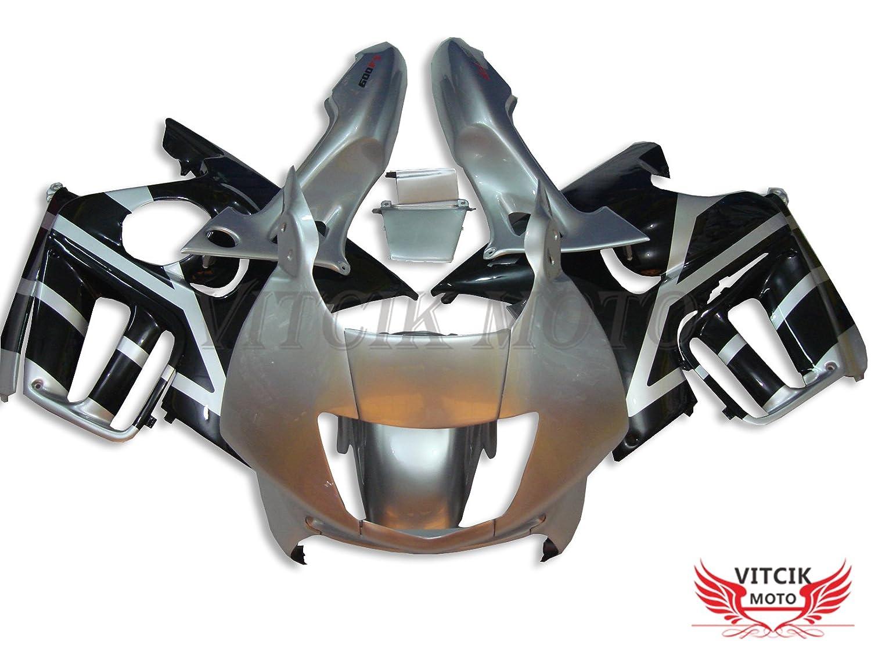 VITCIK (フェアリングキット 対応車種 ホンダ Honda CBR600F3 CBR600F 1997 1998 CBR 600 F3 97 98) プラスチックABS射出成型 完全なオートバイ車体 アフターマーケット車体フレーム 外装パーツセット(シルバー & ブラック) A014   B06XW5BCX5