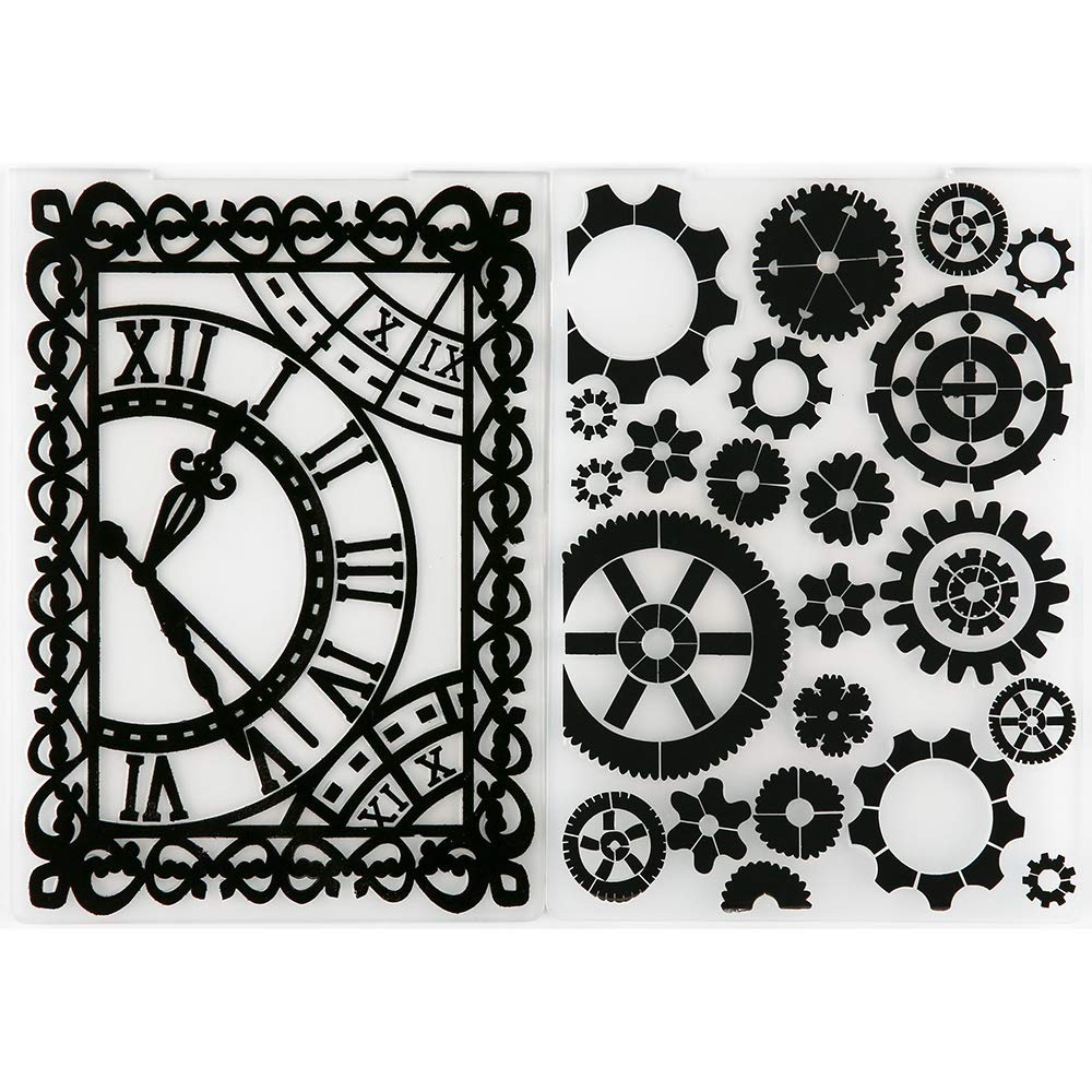 MaGuo Clock and Gear Embossing Folders for DIY Scrapbooking Photo Album Card Making Decorative
