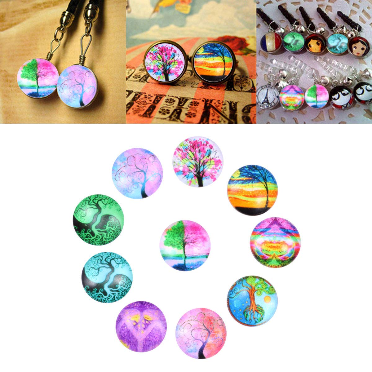 SUPVOX 10pcs Flatback Cabochons Tree of Life Glass Cabochons Embellishments Crystal Cabochons Snaps Buttons DIY Jewelry Accessories 12mm