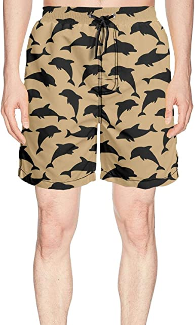 Mens Shark Pattern Printing Swim Trunks Casual Beach Cargo Shorts